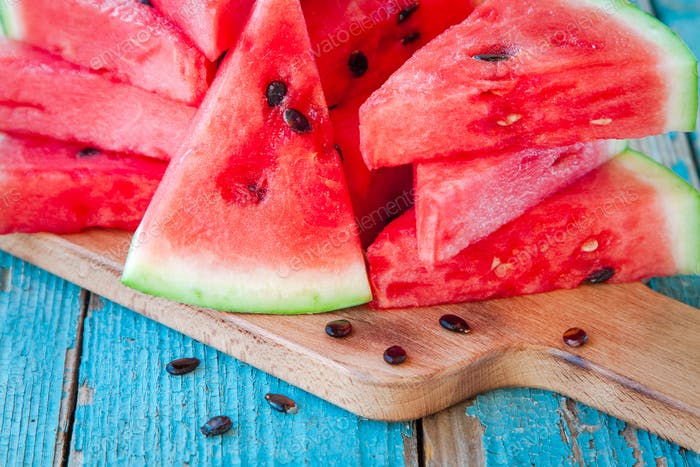 slices of fresh juicy organic watermelon
