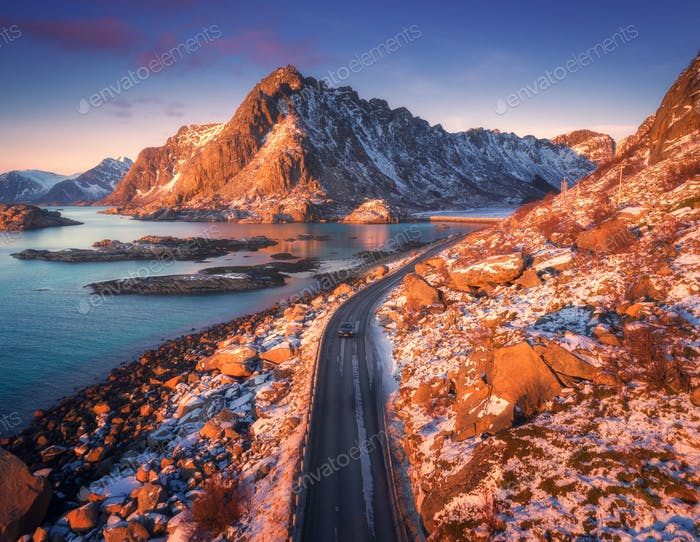 Aerial view of beautiful mountain road near the sea
