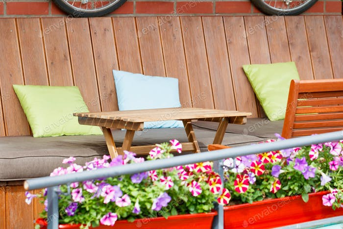 Street cafe terrace in vintage European style