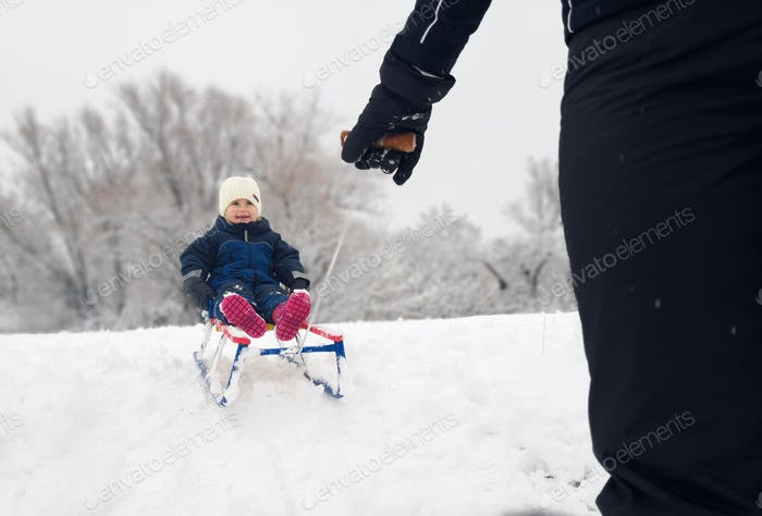 Little girl enjoying a sleigh ride. Child sledding. Toddler kid riding a sledge