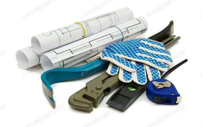 Drawings for building and working tools on white a background.
