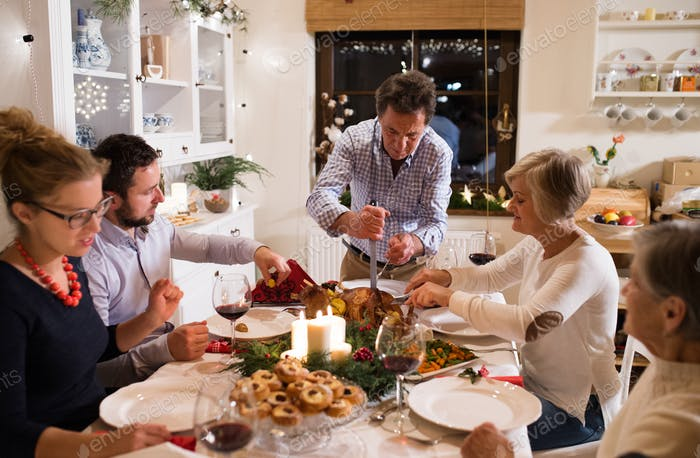 Family celebrating Christmas. Father serving food.