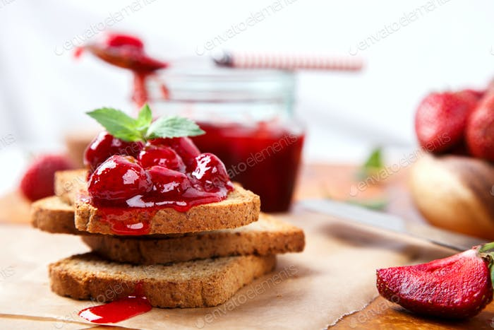 Toast  Strawberry Jam.Appetizer