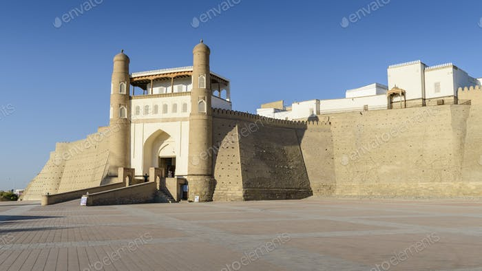 Exterior view of the 5th century Ark Citadel in Bukhara, a UNESCO world heritage site, large earthen