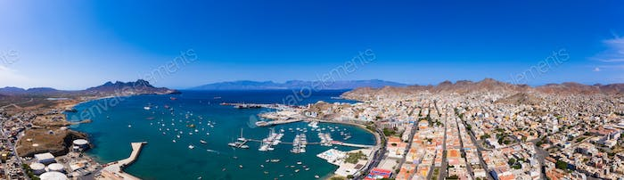 Aerial panoramic view of Mindelo waterfront in Sao Vicente Island in Cape Verde