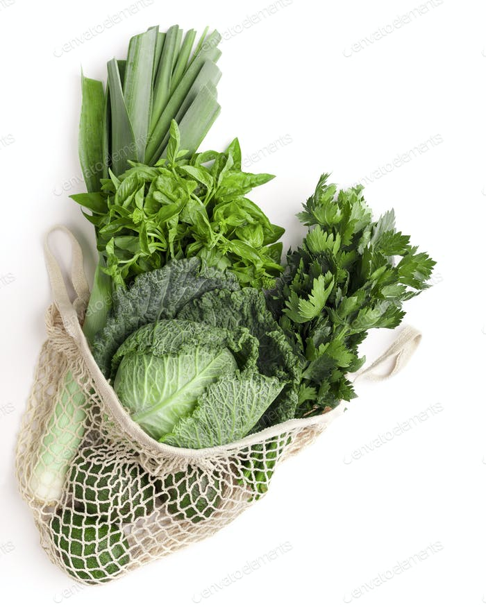 Green vegetables for healthy nutrition in net shopping bag
