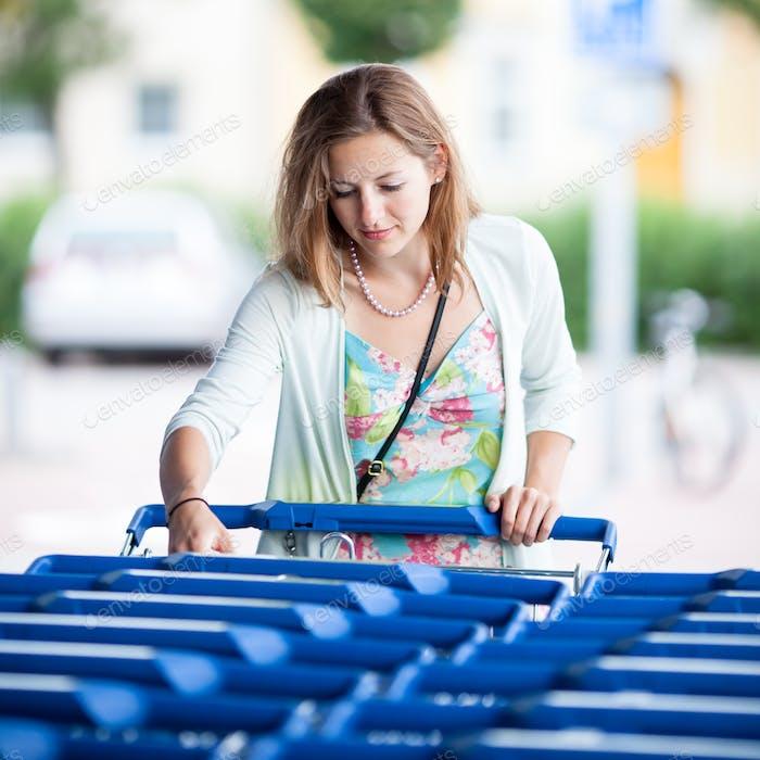 Schöne junge Frau gehen Einkaufen für Lebensmittel (Farbe getönt