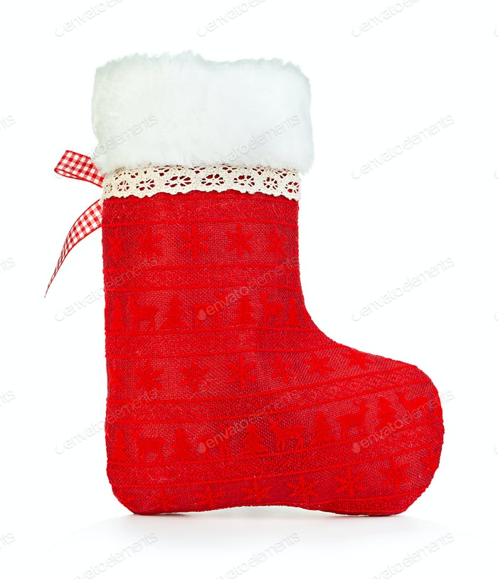 Christmas sock isolated on white background. Christmas concept.