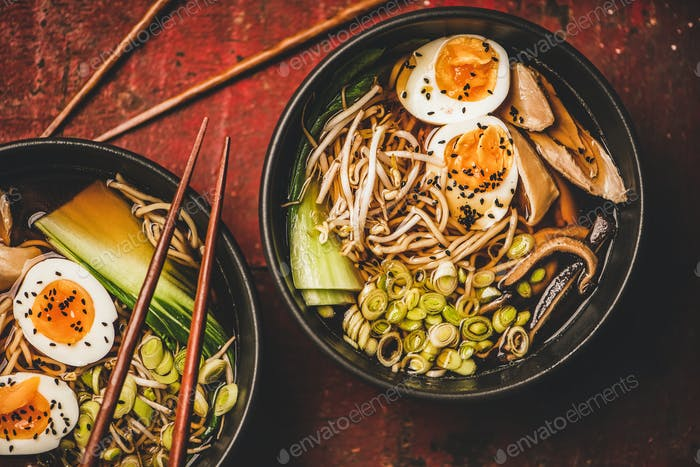Japanese Ramen soup with chicken, eggs and shiitake mushrooms