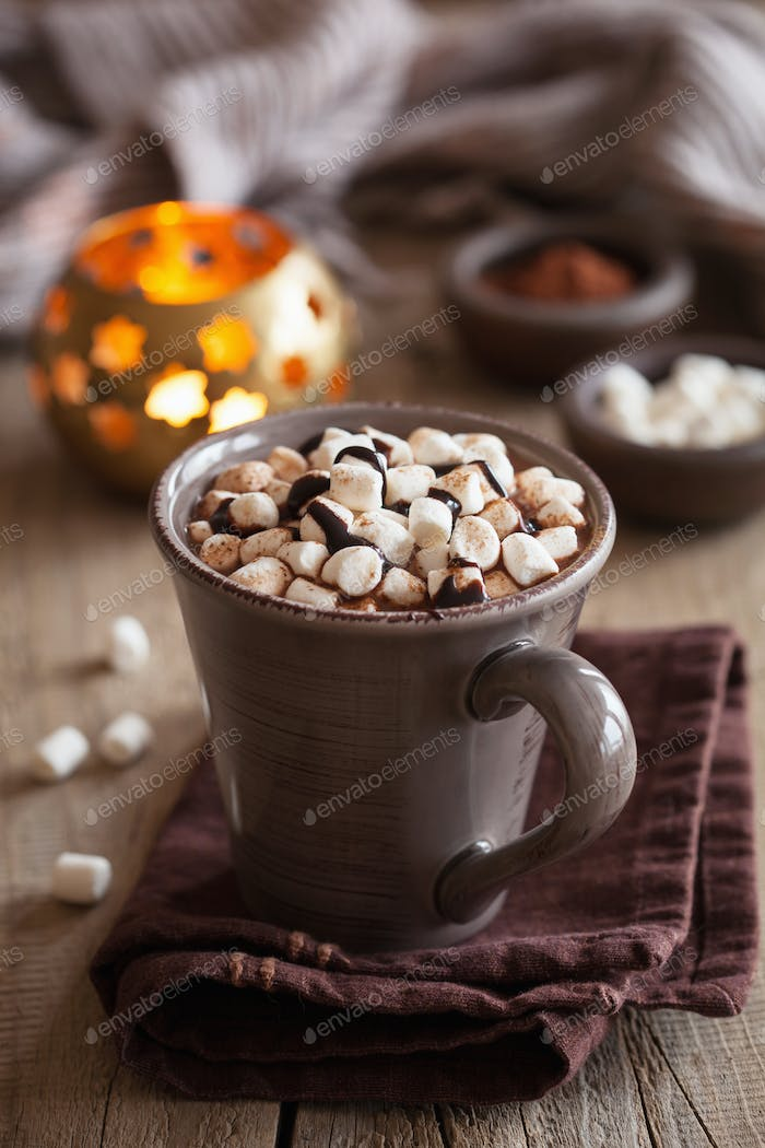 hot chocolate with mini marshmallows warming drink