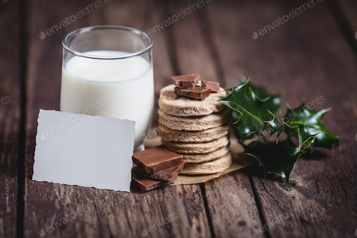 Milk with sweet food for Santa Claus