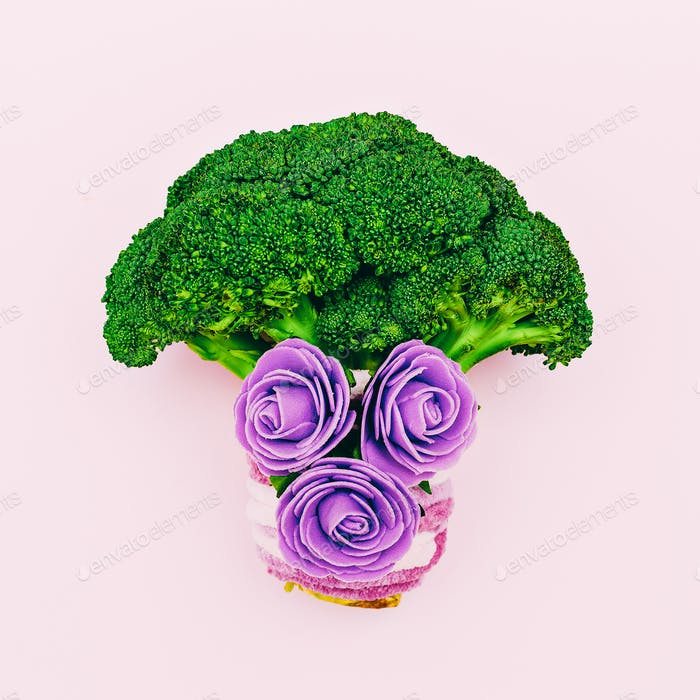 Broccoli cabbage and flowers. Love Raw minimal art