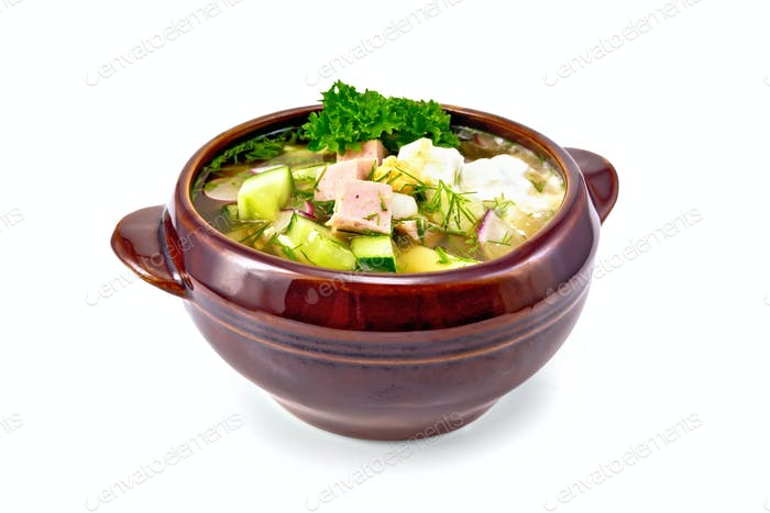 Okroshka in bowl