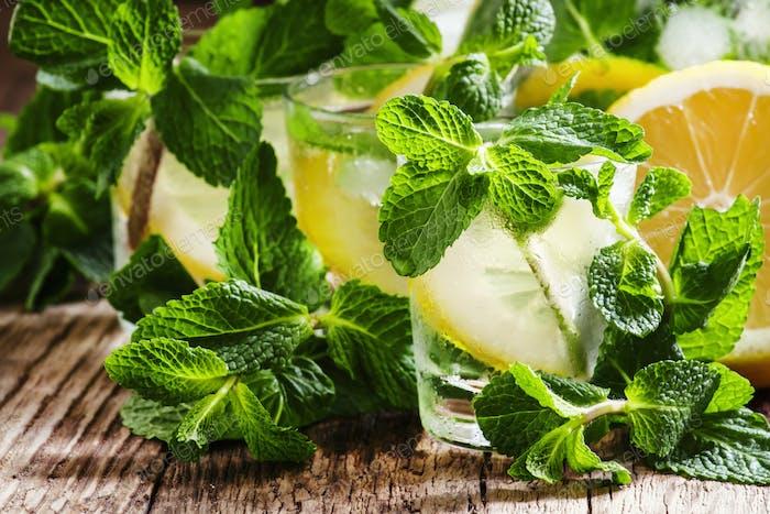 Alcoholic cocktail Parkside Fizz with mint, lemon juice, almond syrup, citrus vodka