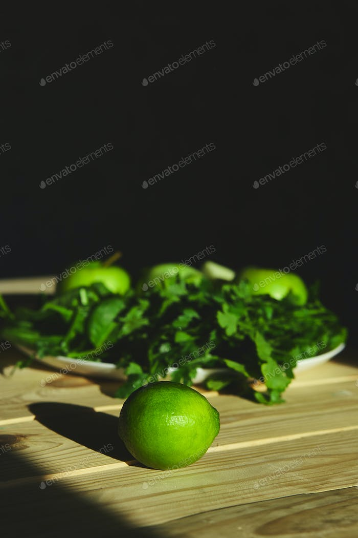 Ingredients for preparing green healthy detox smoothie.