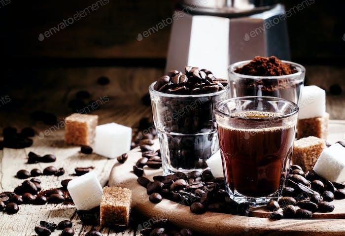 Three types of coffee: Grinded Arabica coffee beans, freshly brewed espresso