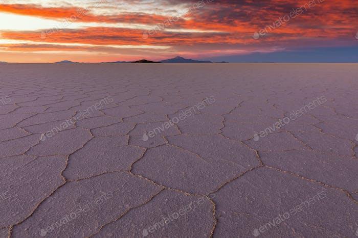 Sunset at Salar de Uyuni, Aitiplano, Bolivia