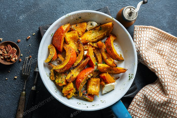 Roasted pumpkin chunks with spices