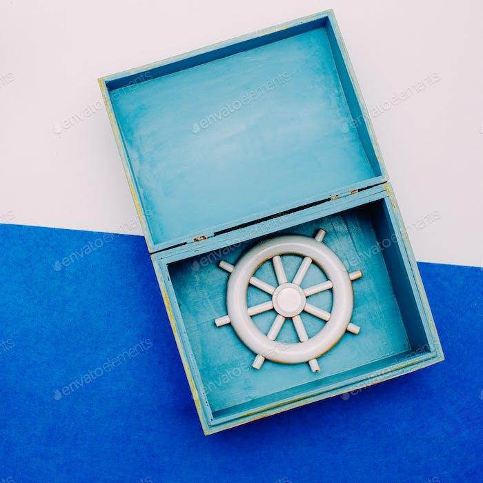 Ocean souvenirs. Steering wheel. Minimal design.