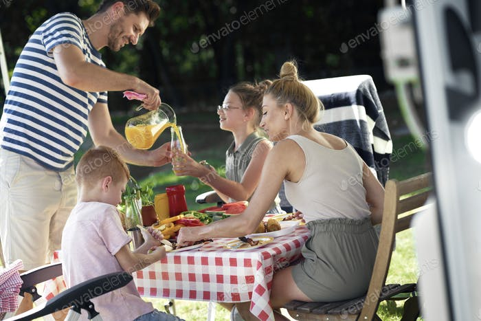 Cheerful family on the camping
