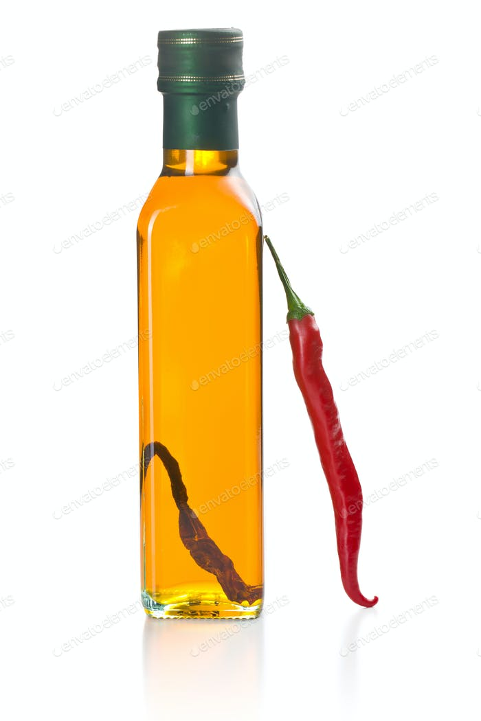 olive oil with chili peppers
