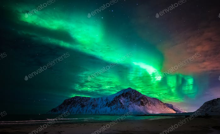 Aurora borealis (northern lights) over Skagsanden beach. Lofoten Islands, Norway