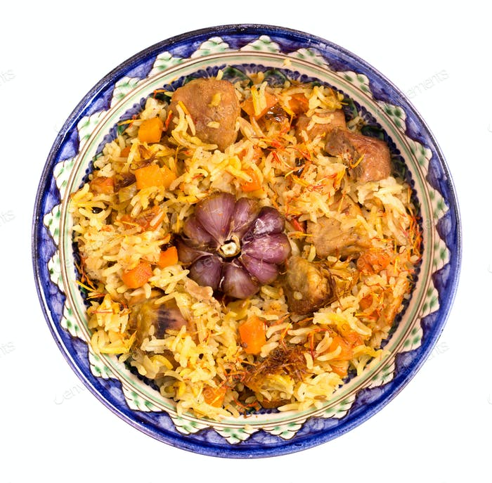 Bowl of oriental pilaf isolated