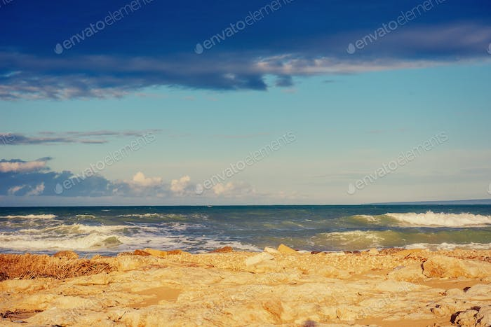 waves the sea landscape on a background of blue sky.