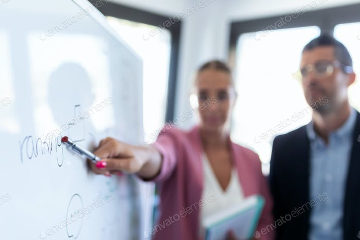young businesswoman pointing at white blackboard and explain a project to her colleagues