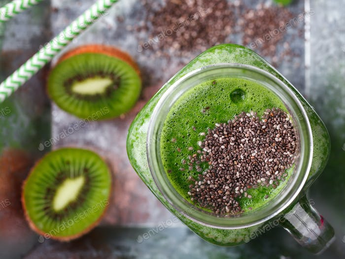 Smoothies of green vegetables and fruits.Drink Concept of Healthy Eating.