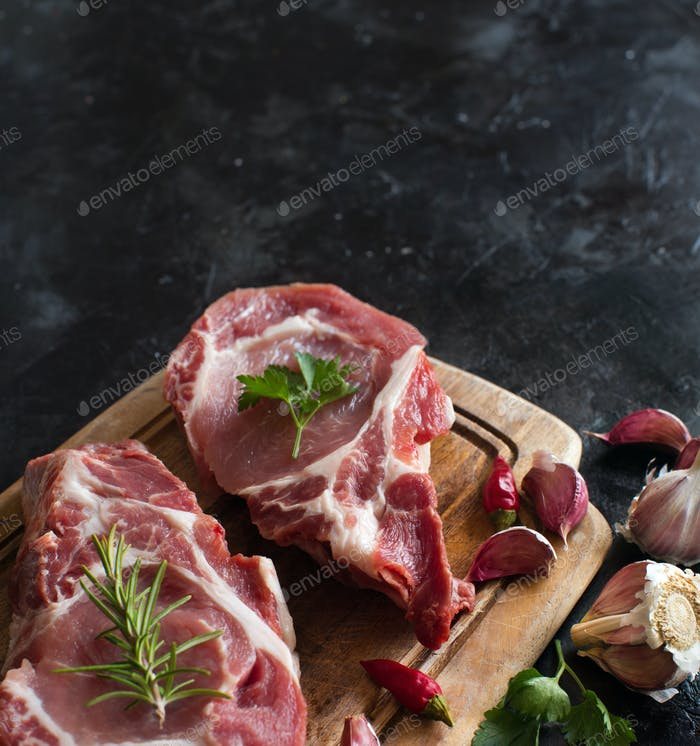 Raw pork steaks