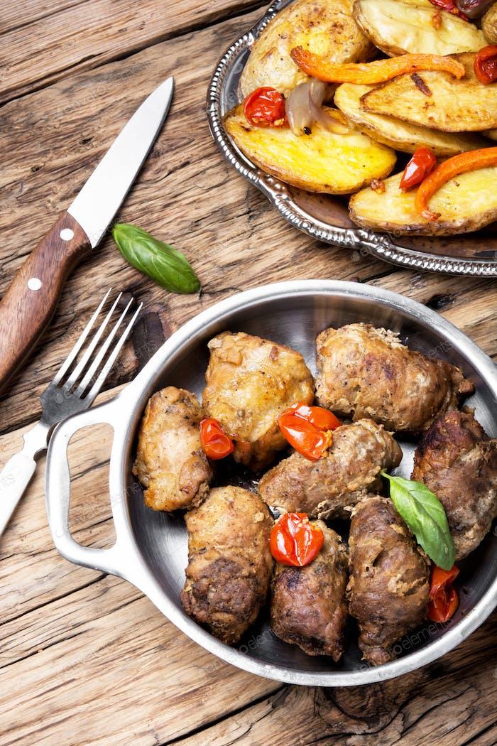 Juicy meat sausages