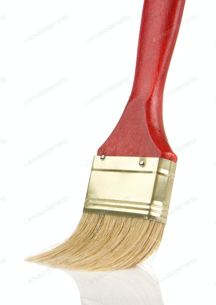 part of wooden red paintbrush isolated on white