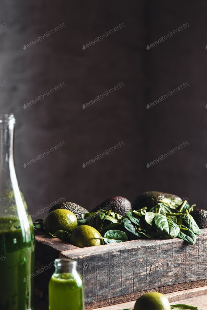 Fresh smoothie in jar in old wooden box, top view. Detox, dieting, vegan, healthy concept
