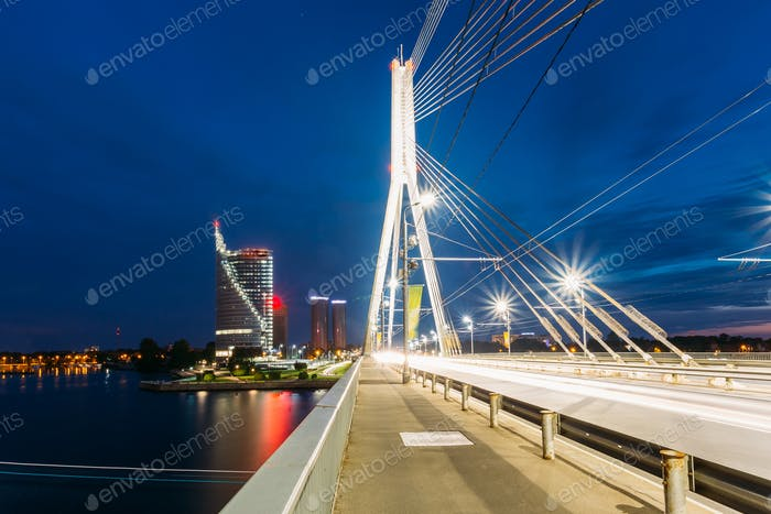 Riga Latvia. Close View Of Deserted Vansu Cable-Stayed Bridge In