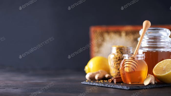Ingredients for healthy hot drink. Lemon, ginger, mint, honey, apple and spices on dark background