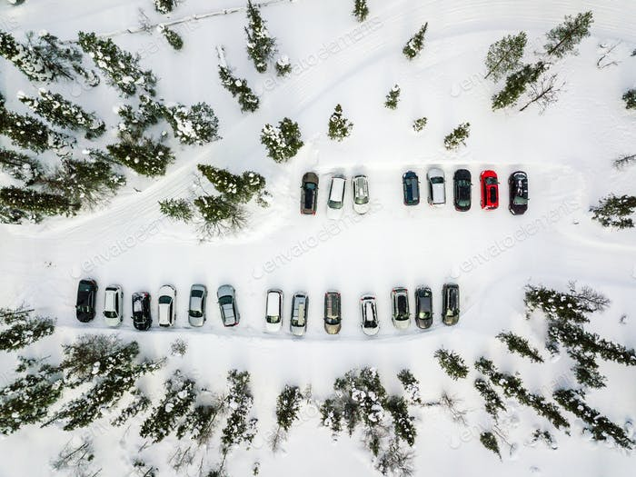 Aerial view of winter parking in the forest in rural Finland