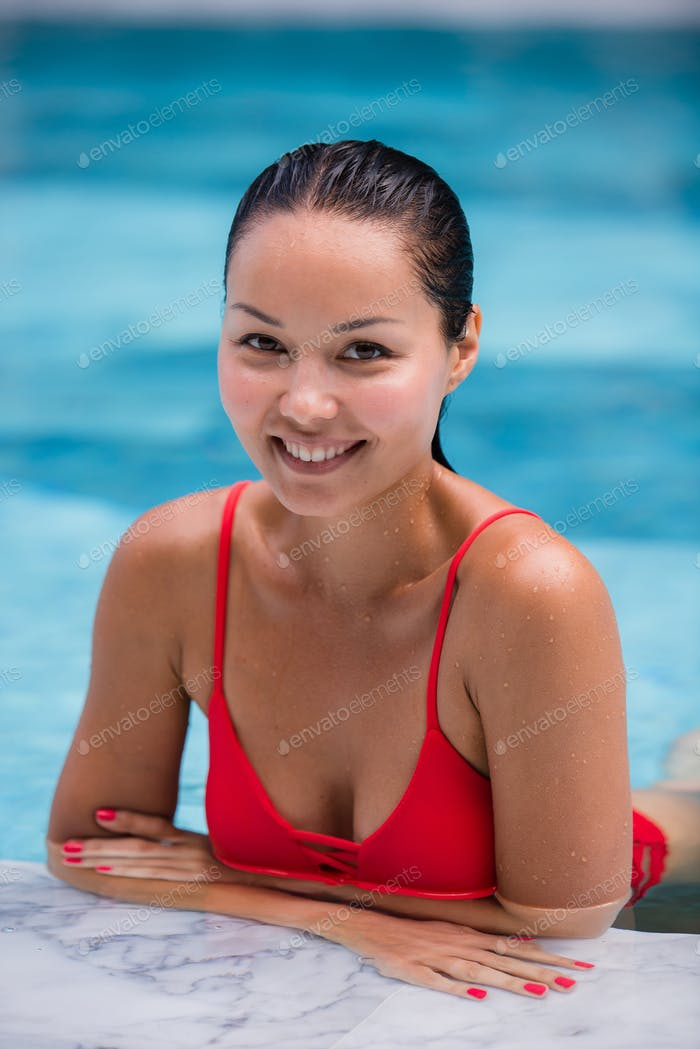 Beautiful Woman Swimming Pool At Resort Relaxed Portrait Young Asian Girl Happy Smile Tropical