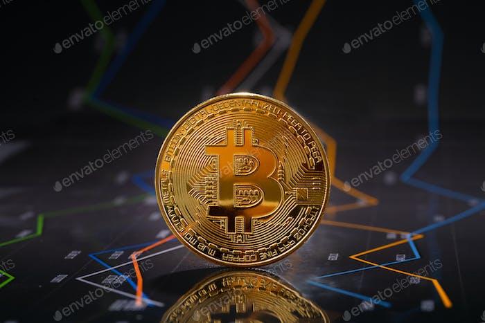 Bitcoin de oro se mantiene en gráficos financieros para los precios de las criptomonedas