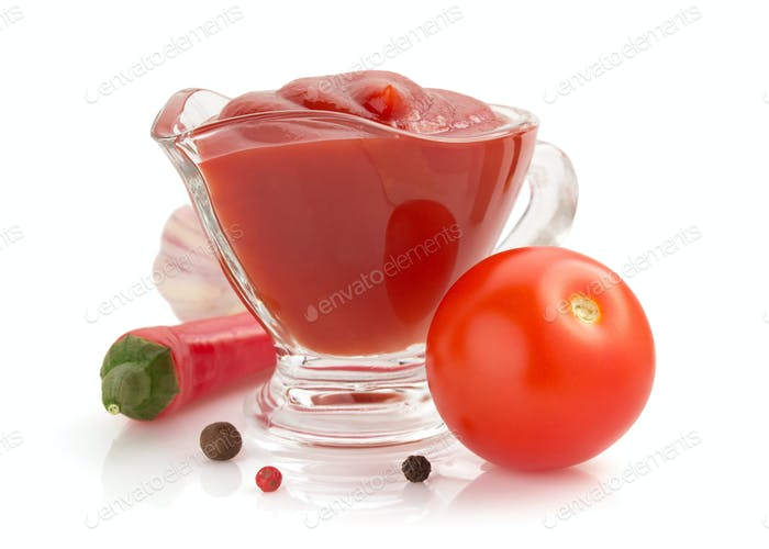 tomato sauce on white background