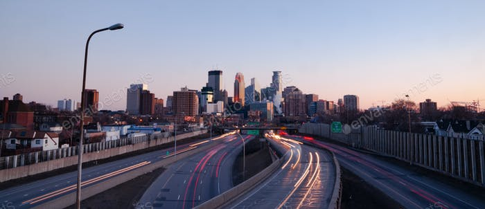 Traffic Comes and Goes from Downtown Minneapolis Minnesota
