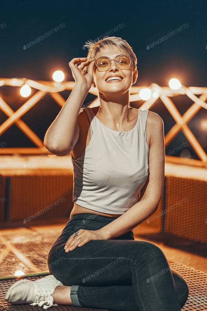 Attractive hipster girl in eyewear