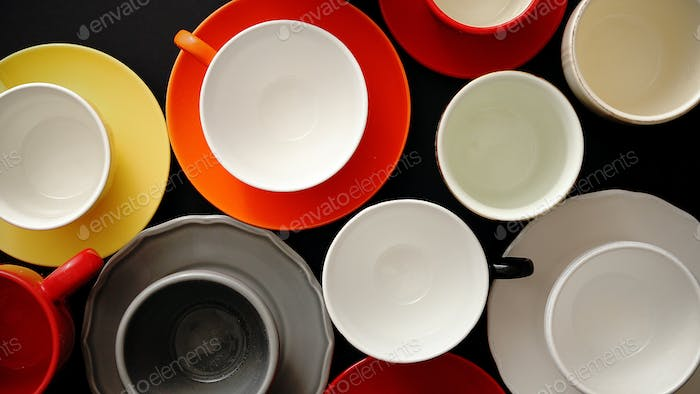 Empty colorful modern ceramic plates and cups collection