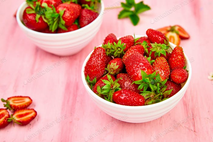 Strawberries in white bowl. Fresh strawberries. Beautiful strawberries.