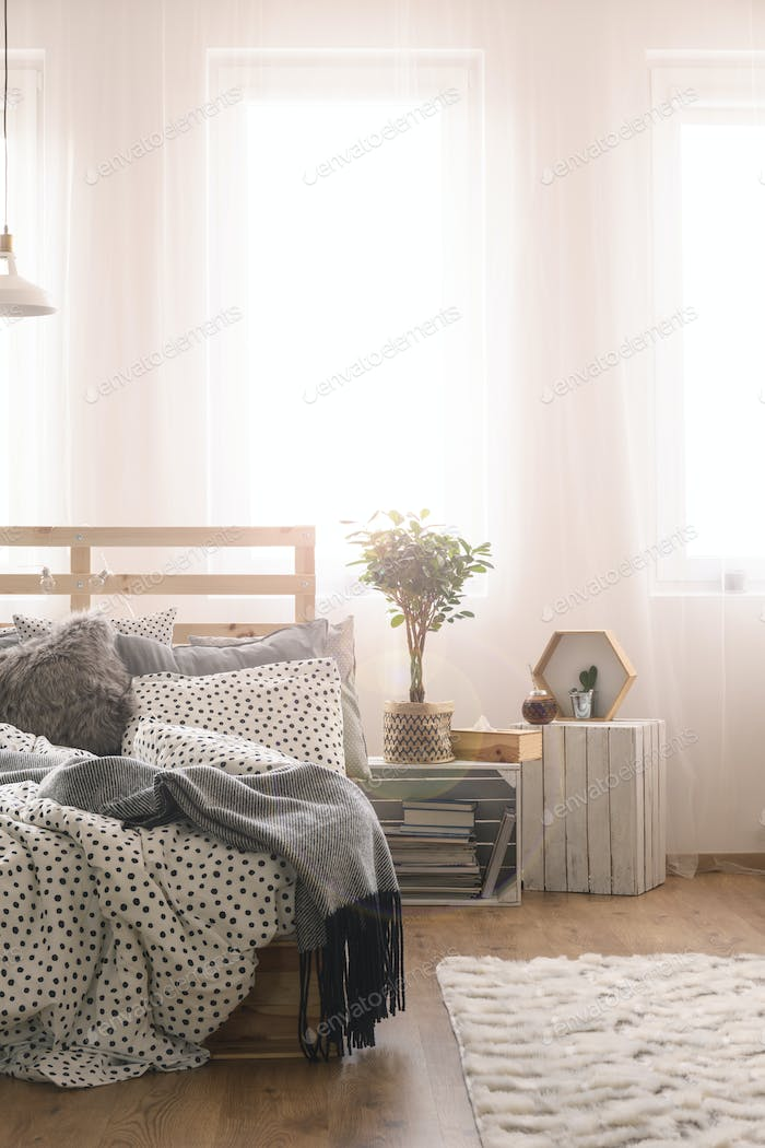 Bedroom with wooden bed