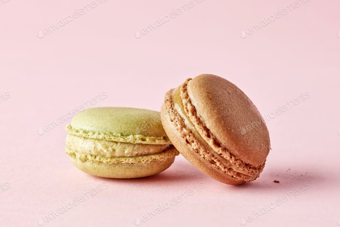 macaroons on pink background