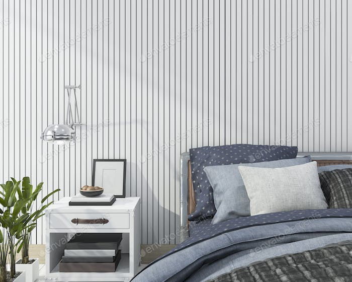3d rendering blue close up scandinavian bedroom
