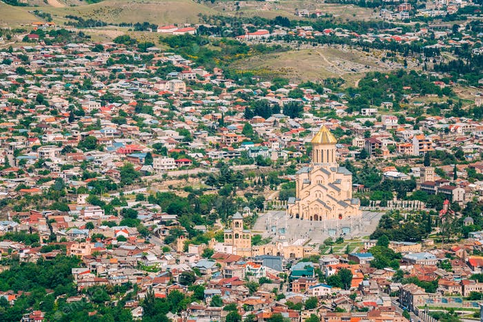 View Of Sameba Holy Trinity Cathedral Main Georgian Orthodox Chu