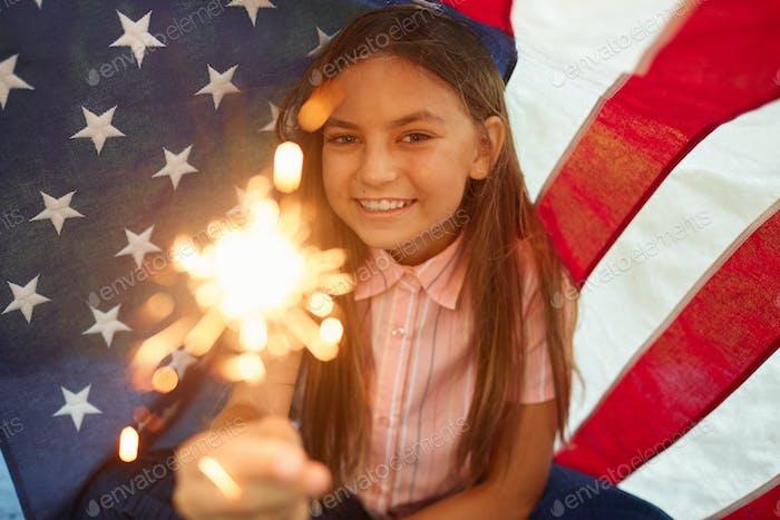 Girl Enjoying 4th Of July Celebration