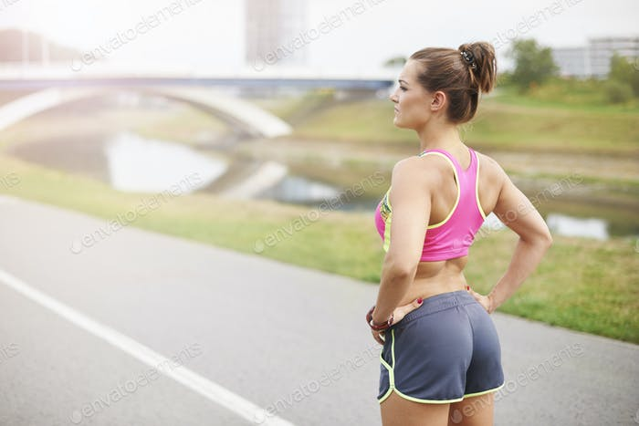 Deep breath and she is ready for jogging
